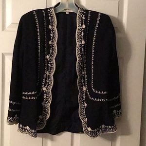 Carolina Herrera Vintage Navy Embroidered Jacket